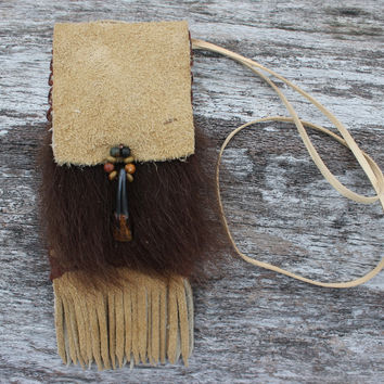 Buffalo and Bear Spirit Medicine Bag, Natural buckskin Color Bison Leather, Buffalo Tooth, Natural Fur Necklace Pouch