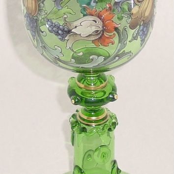 999157 Green Tall Goblet W/Painted Fruit & Knobs On Stem, Blown