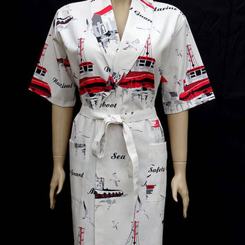 Women's exclusive sea patterned short sleeved cotton kimono bathrobe, bridesmaid robe, dressing gown, bridal robe, morning gown.