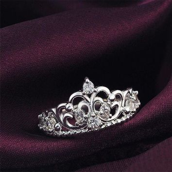 ESBONDO Women Princess Silver Plated Crown Ring Wedding Engagement Ring Jewelry Size 6-9