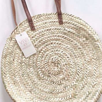 Handwoven Round Basket Tote with Leather Straps