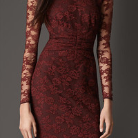 Gathered Waist Lace Dress