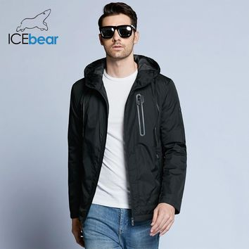 ICEbear new men's spring warm jacket man fashion coat windproof hat high quality brand casual clothing MWC18006D