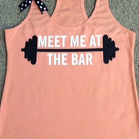 Meet Me at The Bar - Racerback Tank - Peach Terry Tank - Fitness Tank - Gym Tank - Workout Tank - Workout Clothes