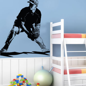 Vinyl Wall Decal Sticker Baseball Baseman #5093