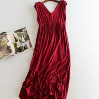 Maternity Jersey Dress Sleeveless V-Neck Partywear