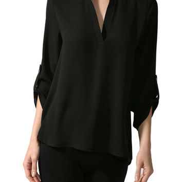 3/4 Sleeve Henley V-Neck High Low Blouse