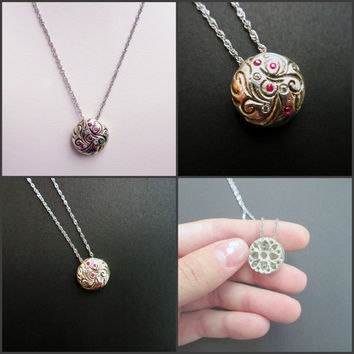 Rubies & CZ Diamonds Engraved Semi-Sphere Pendant - Sterling Silver