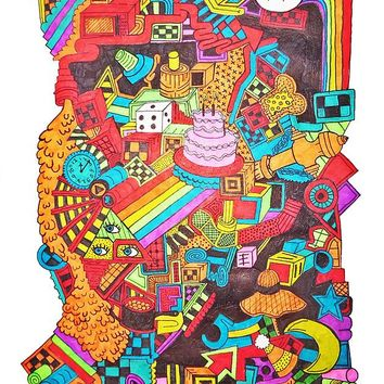 Colorful Surreal Surrealism Drawing Drawings Art Arts Rainbows eye ball cake pipes cubes third eye hippie psychedelic hippies strange weird