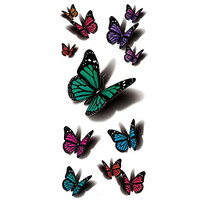 TAFLY Temporary Tattoo 3D Sexy Multicolor Butterfly Body Art Waterproof Sticker 5 Sheets