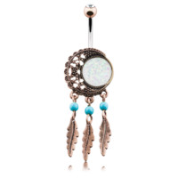 Vintage Boho Filigree Moon Dreamcatcher 14ga Opal Belly Button Ring Navel Ring Surgical Steel