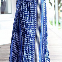 Blue Tribal Print Slit Maxi A-Line Skirt
