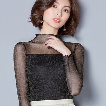 Chicloth Sexy Hollow High Collar Bodycon Blouse