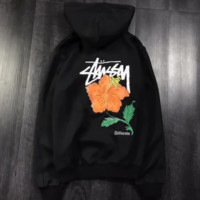 Stussy Fashion Casual Print Long Sleeve Hoodie Pullover Sweater Black G