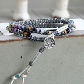 Purple and Gray macrame ARM PARTY, stacking bracelet, seed bead and leather boho bracelet, MTO