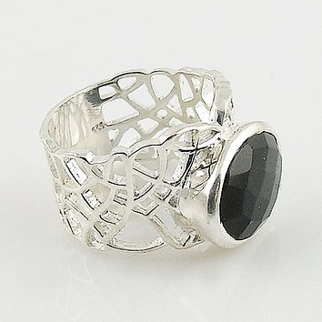 Black Onyx Sterling Silver Open Mosaic Ring