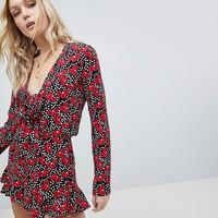 Glamorous Tall Playsuit With Frill Shorts And Bow Front In Cherry Blossom Polka Dot at asos.com