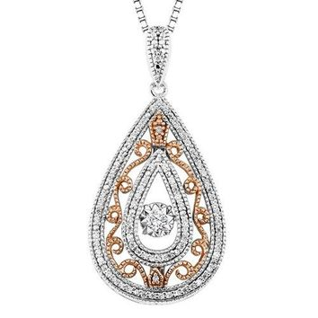 Sterling Silver and Rose Gold 1/4ct Pear Shaped Diamond Rhythm of Love Necklace