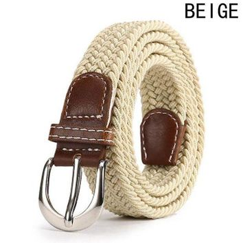 MDIGFS2 Leather Buckle Luxury Canvas Belts Fashion Women Men Belt Top Quality 2.5 Cm Wide Woven Stretch Braided Elastic