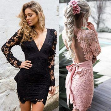 DCCKH3L Fashion Backless Deep V Long Sleeve Hollow Lace Tight Pack-hip Mini Dress