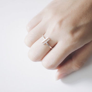 Open Bar Ring, Silver Bar Ring, Double Bar Ring, Parallel Bar Ring, Simple Ring, T Ring, Minimal Ring, Silver Ring, Basic Ring, Bar Ring
