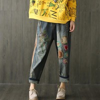 Yesno P71 Women Cropped Denim Pants Jeans Trousers 100% Cotton Floral Print Patchwork Casual Loose Low Crotch Ripped Holes