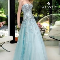 A-line Sweetheart Appliques Light Blue Prom Dress Style LYAE005,Elegant Prom Dresses