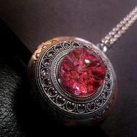 Real Flower Locket - High Dome - Custom Chain Length
