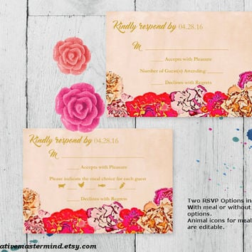 DIY Wedding Template Editable Printable RSVP Card, Instant Download, Editable PDF, Printable, Digital, Elegant Painted Floral  #1CM79-1