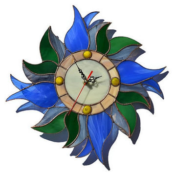 Wall Clock Blue Tulips Wreath, Unique Stained Glass Flower Wall Decor