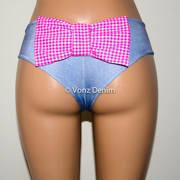 Denim and Plaid Cheeky Bikini Bow Bottoms, Hips Brazilian Bikini Bottoms, Seamless Reversible Boy Shorts
