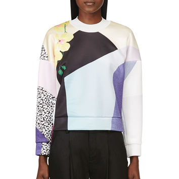 3.1 Phillip Lim Yellow Multi-color Collage Print Dropped Shoulder Sweatshirt