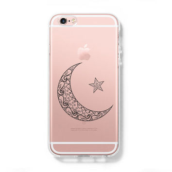 Moon Star iPhone 6 Case iPhone 6s Plus Case Galaxy S6 Edge Clear Hard Case C046
