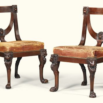 A pair of Regency carved mahogany side chairs, circa 1810, after a design by Thomas Sheraton, possibly by Marsh and Tatham | lot | Sotheby's