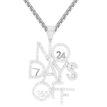 Men's No Days Off Grind 365 Days Hip Hop Iced Out Pendant