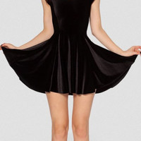 Black Short Sleeve Velvet Casual Mini Dress
