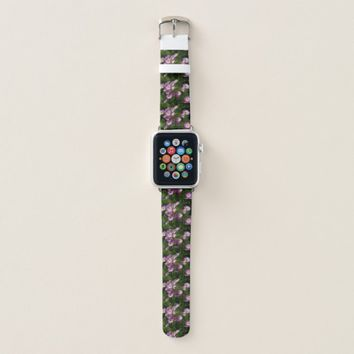 Pink and white wild flowers apple watch band