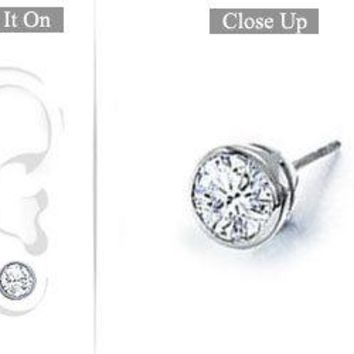 Mens 14K White Gold : Bezel-Set Round Diamond Stud Earrings 1.00 CT. TW.