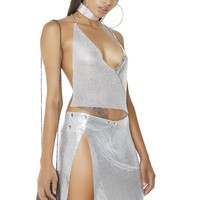 Dim The Lights Chainmail Halter Top
