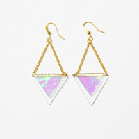 30% SALE - Glass holographic earrings - Double triangles (gold)