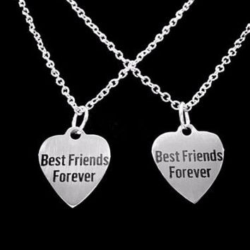 Best Friends Forever Heart Friend Gift BFF Friendship Necklace Set