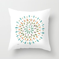 Watercolor Abstract Circles Throw Pillow by Misty Diller of Misty Michelle Design