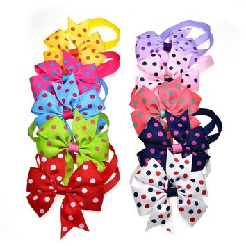 New  100PC  Bow Dog Bowties  Lare Bows Dot Pattern Pet Dog Bow Tie Neckties Dog Neck Accessories Pet Grooming Shopping  10colour