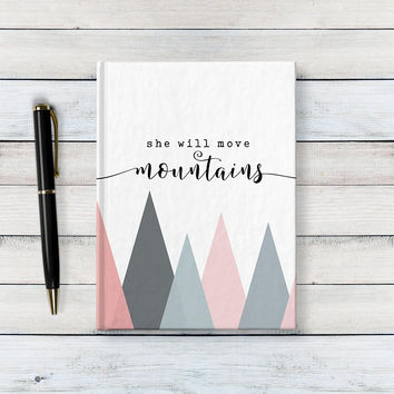 She Will Move Mountains - Writing Journal, Hardcover Notebook, Sketchbook, Diary, Pastel Mountains, Scandinavian, Blank or Lined pages