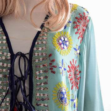 Boho embroidered kimono, bohemian kimono cover-up, kaftan wrap cardigan, beach layer