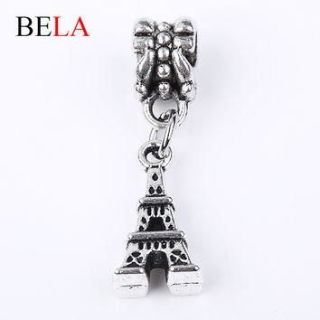 Fashion Jewelry Silver Bead Charms Fit Pandora Bracelets 925 Silver Plated Tower Bead