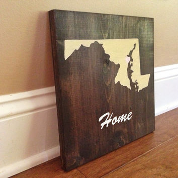 Customizable Maryland Wood Sign, Stained and Hand Painted, Personalize, Home decor