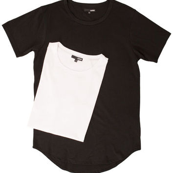Curved Hem Tall Tees - 2 Pack Black/White