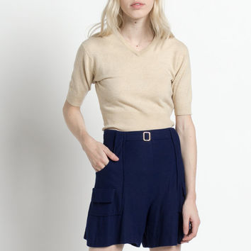Vintage 60s Navy Blue High Waisted Uniform Shorts | XS/S