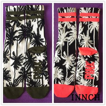 Adult Size Mid Calf Crew Socks Coconut Tree Palm Coco Leaves PINK Color Green Colour Tropical Beautiful Beach Holiday Coast SOXs